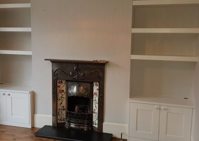 Alcove cabinets & floating shelves